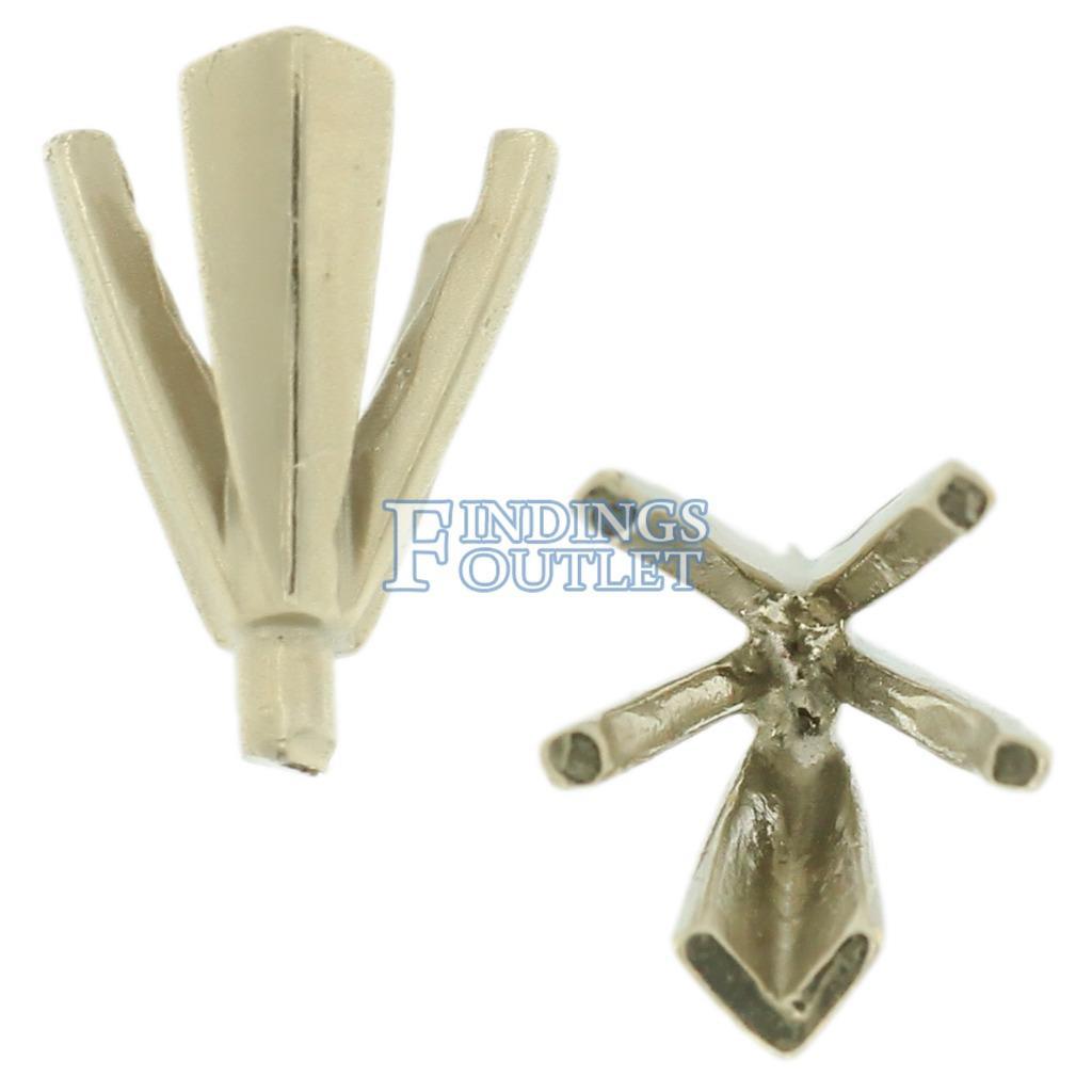 14K White Gold V-End Heart 5 Prong Peg Head Setting Standard For Center Stone