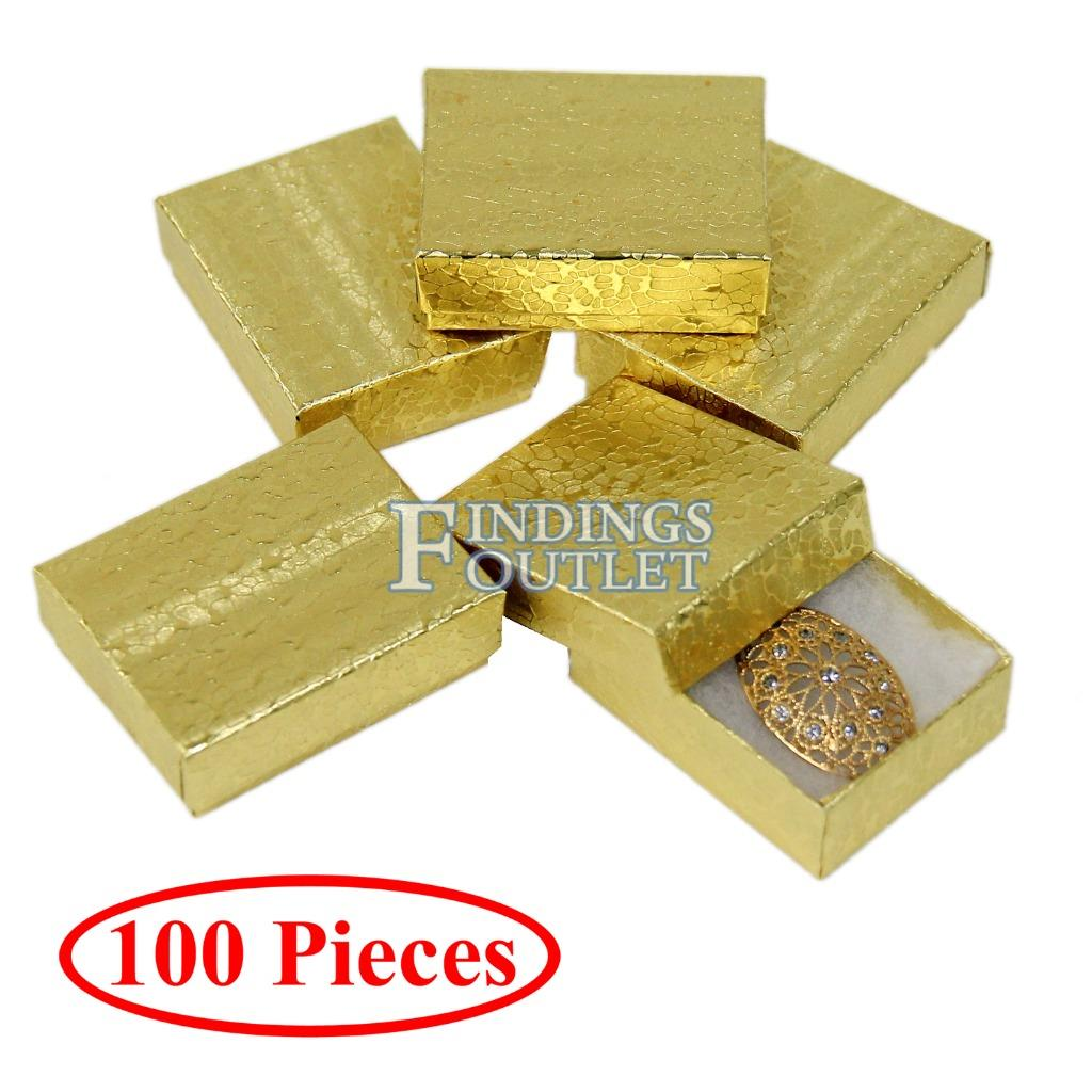 Cotton Filled Gift Box Fancy Gold Foil Jewelry Boxes Cardboard