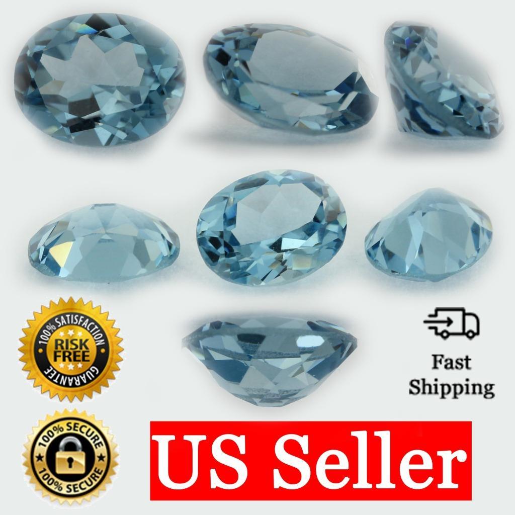 Loose Oval Cut Aquamarine CZ Stone Single Light Blue Cubic Zirconia  Birthstone