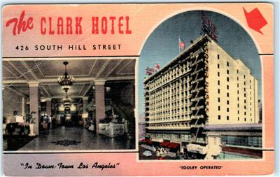 Los Angeles California Ca The Clark Hotel Multi View Linen C1940s Postcard