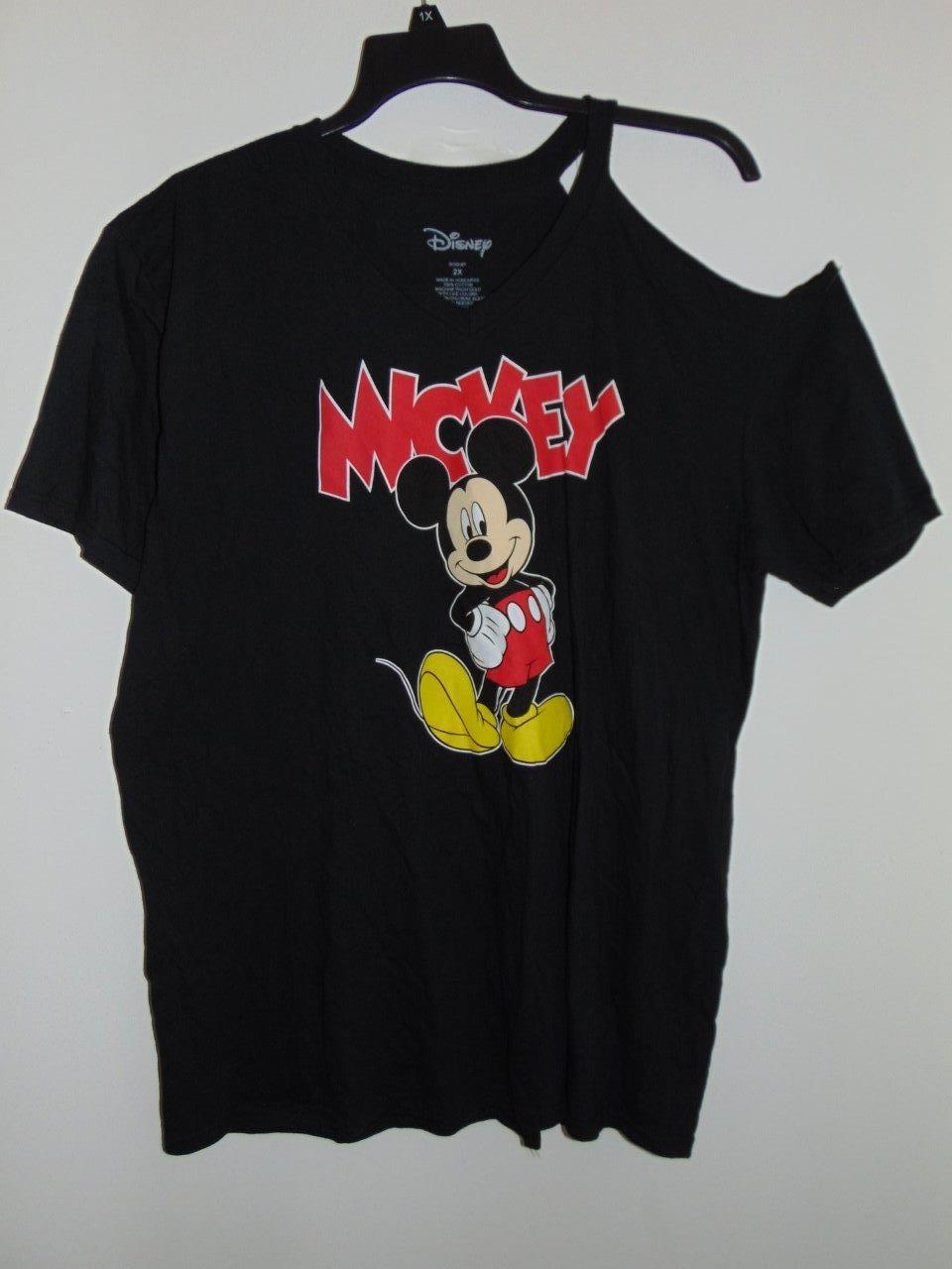 639a1214c691c Disney Plus Size Black Short-Sleeve Mickey Mouse Cold-Shoulder 2X ...