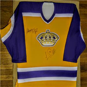 low priced 09dcf aa255 Details about Wayne Gretzky Luc Robitaille Signed CCM NHL LA Kings VIN  Jersey HOF Stanley Cup
