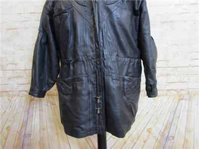 53175fdfc13 WOMENS LEATHER HOODED PARKA COAT SIZE 22 REF 5737