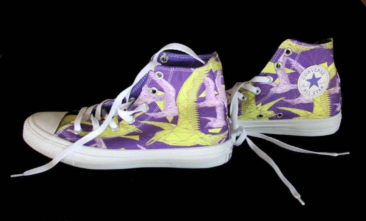 converse trendy neon chartreuse purple birds of paradise hi top