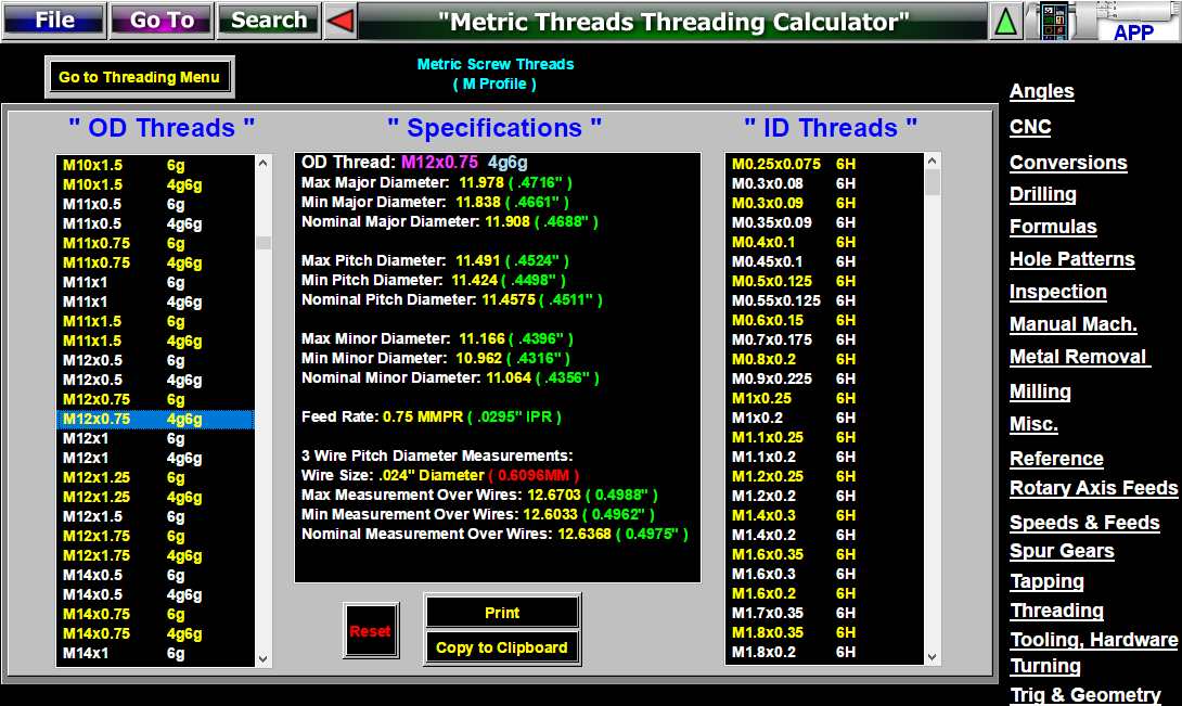 Threads 3 Wire Pitch Diameter Measuring Software Pee Dee thread
