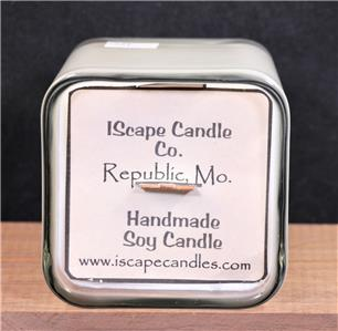 Square Jar Wood Wick Soy Candle IScape Handmade Scented *Pink Sugar* 11 Oz