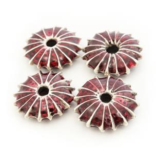 Metallperlen mit roter Emaille 11mm 2 Stück versilbert Zamacperlen Spacer Perlen