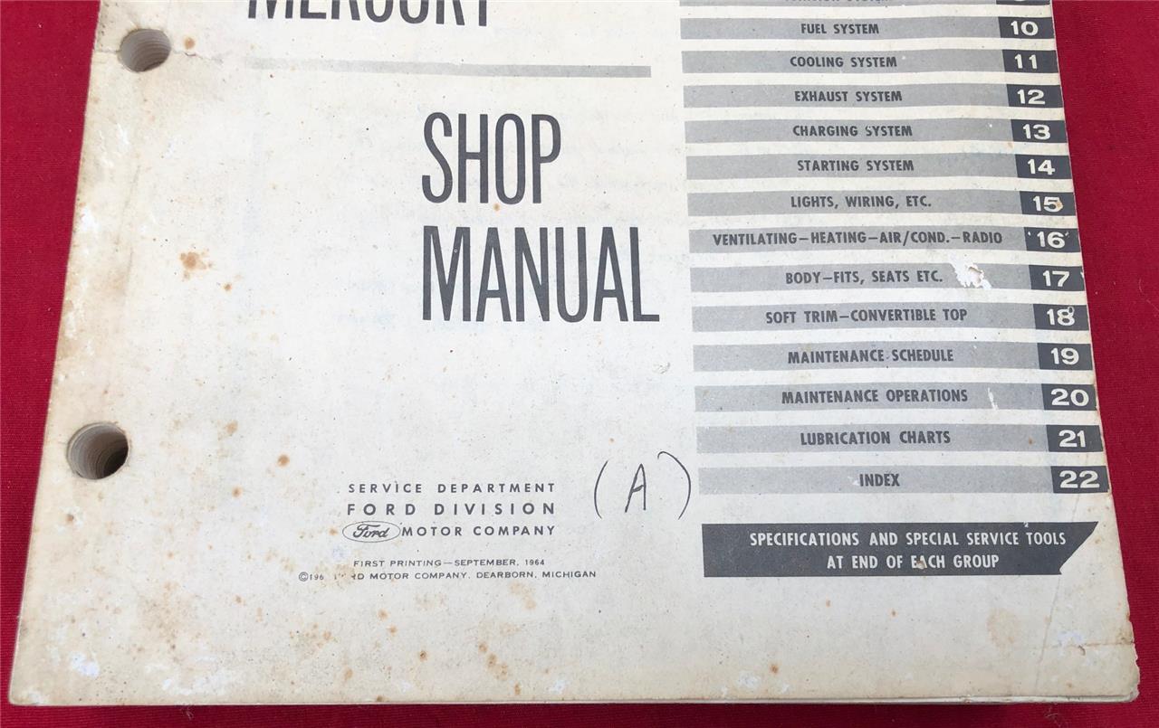 1965 Ford  U0026 Mercury Shop Manual Galaxie Fairlane Falcon