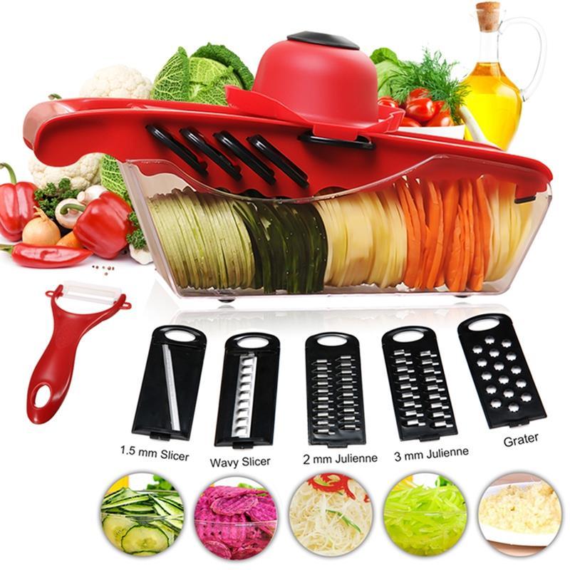 Multifunctional Food Vegetable Fruit Cutter Peeler Chopper Grater Kitchen Slicer