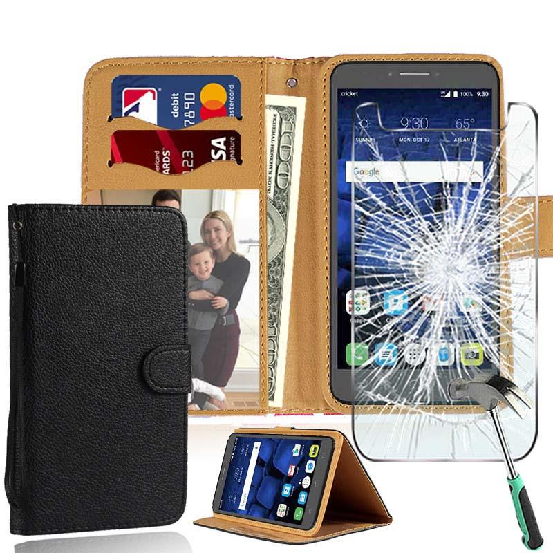 Details about For Alcatel Phones Leather Stand Wallet Case + Tempered Glass  Screen Protector