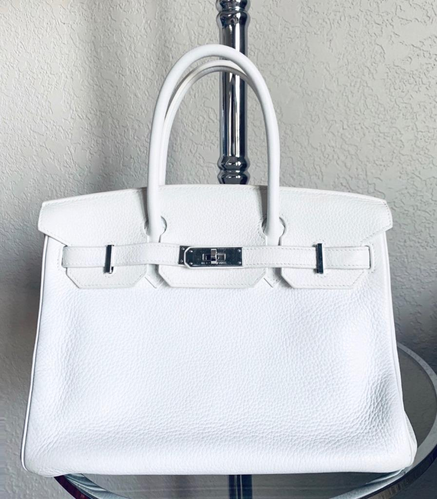 a4322928ab9 💯% Authentic HERMES Birkin White Clemence Leather 30cm Bag PHW ...