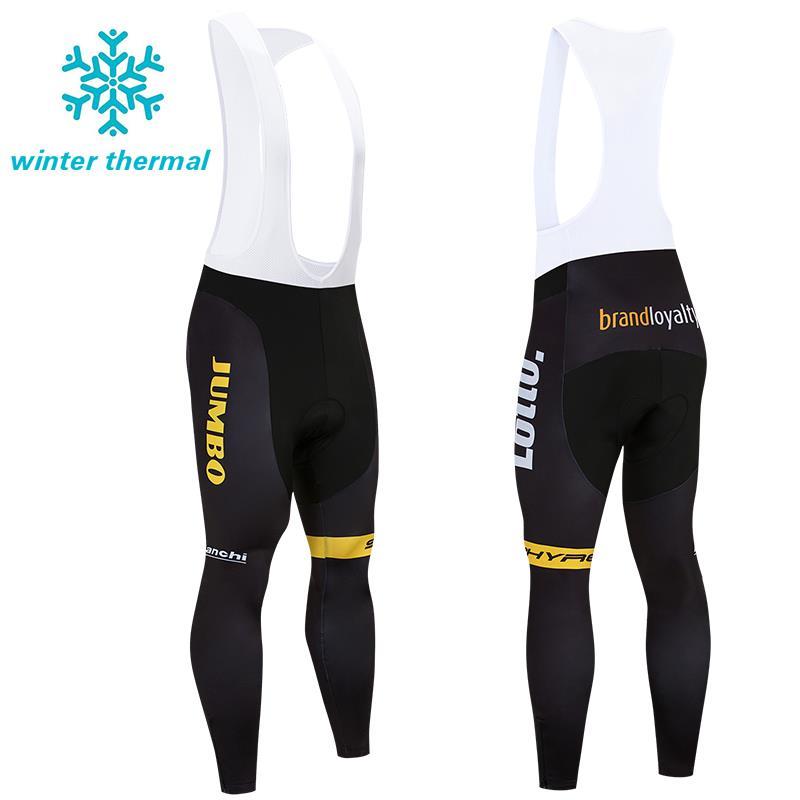 Men Winter Cycling Fleece Bib Pants Padded Thermal Bike Riding Brace Tights Warm