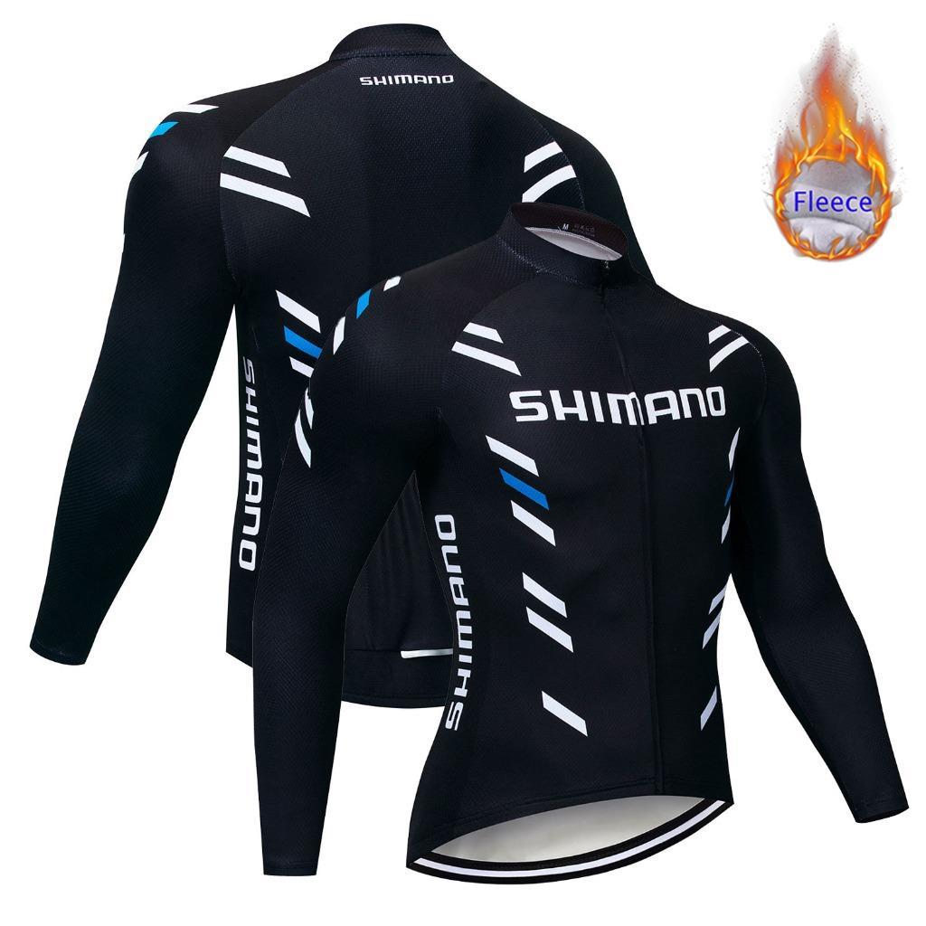 UK Mens thermal fleece bike shirt winter cycling Jersey long sleeve bicycle Top