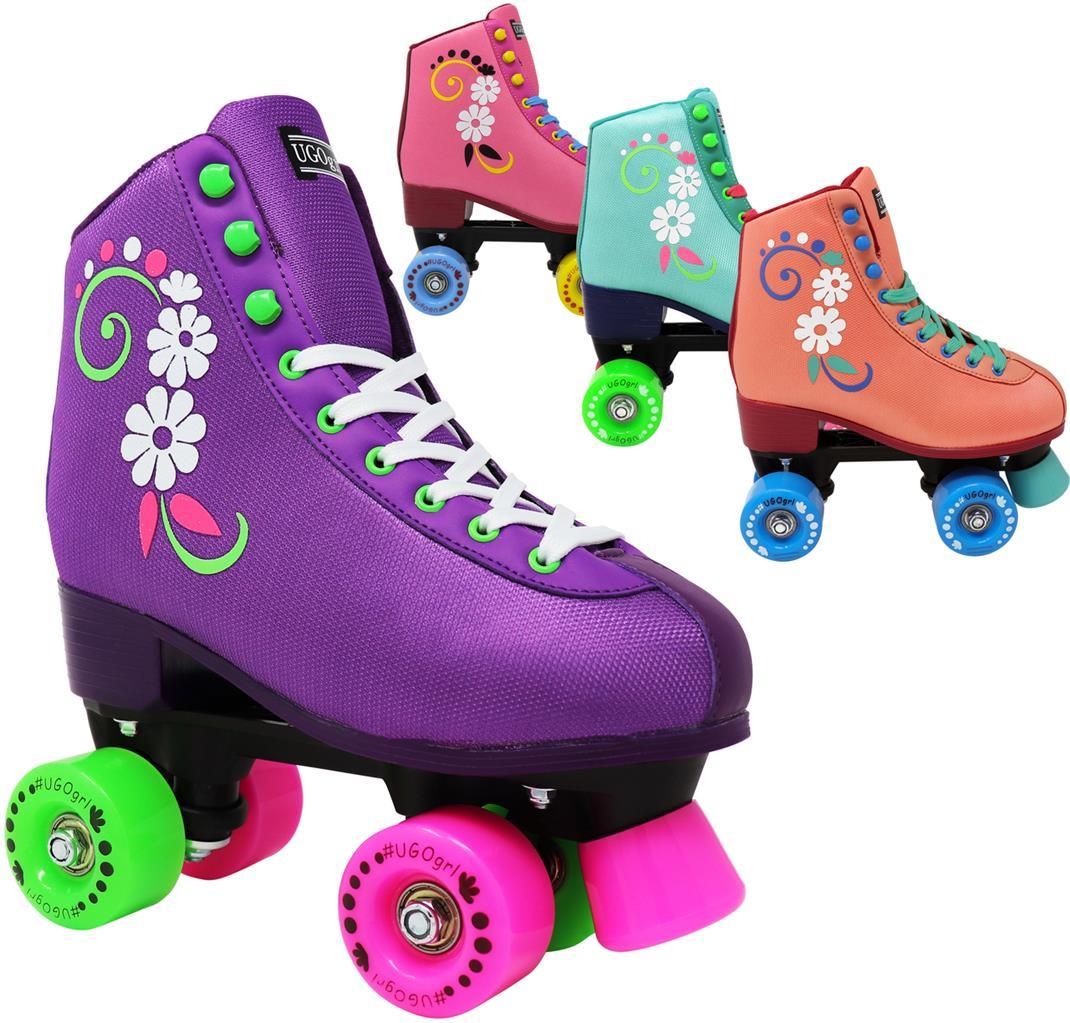 Outdoor Derby Childrens Skate Great Youth Skate for Beginners Indoor Rollerskates Made for Kids Lenexa uGOgrl Roller Skates for Girls Kids Quad Roller Skate