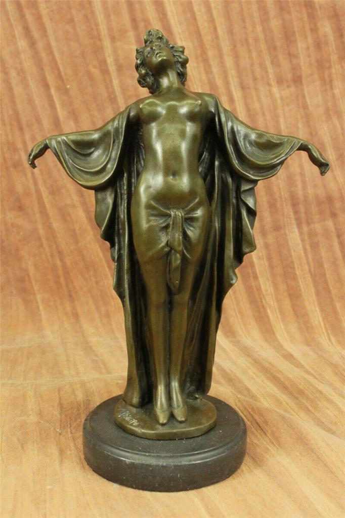 Vintage Hand Carved Wood Nude African Woman Bust Statue