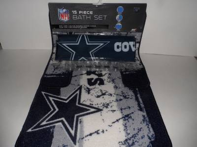 Nfl Dallas Cowboys 15 Piece Bath Set Shower Curtain