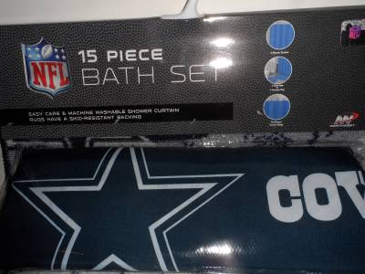 Nfl Dallas Cowboys 15 Piece Bath Set Shower Curtain