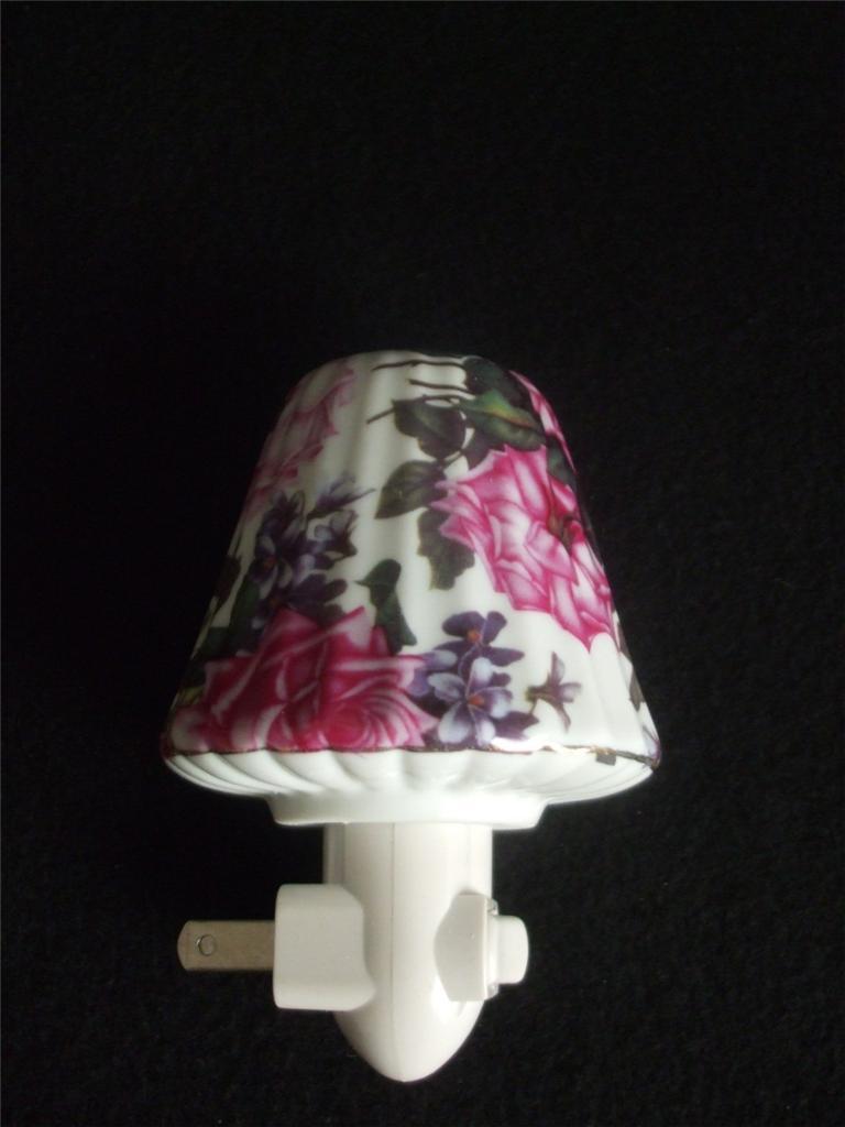 Ceramic Night Light Lamp Shade Roses Floral New Ebay