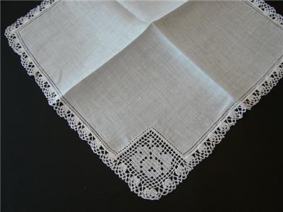 Vintage Irish Linen Wedding Bridal Handkerchief Filet