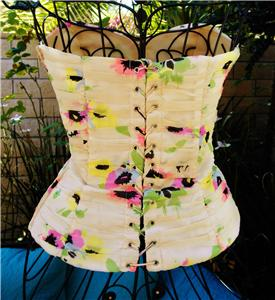 Vintage Betsey Johnson Floral Chiffon Cream Ruched Corset