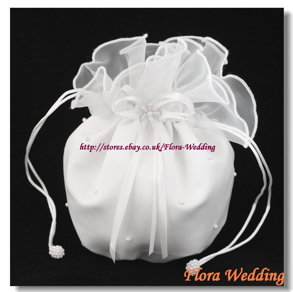 Chiffon Bridal Dolly Bag//Flower Girl Bridesmaid Handbag//Communion Pouch,beads