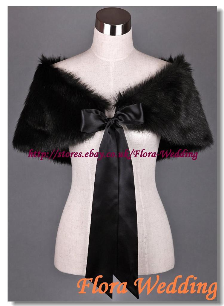 Ivory Black Faux Fur Satin Lined Bridal Shawl Capelet Wrap