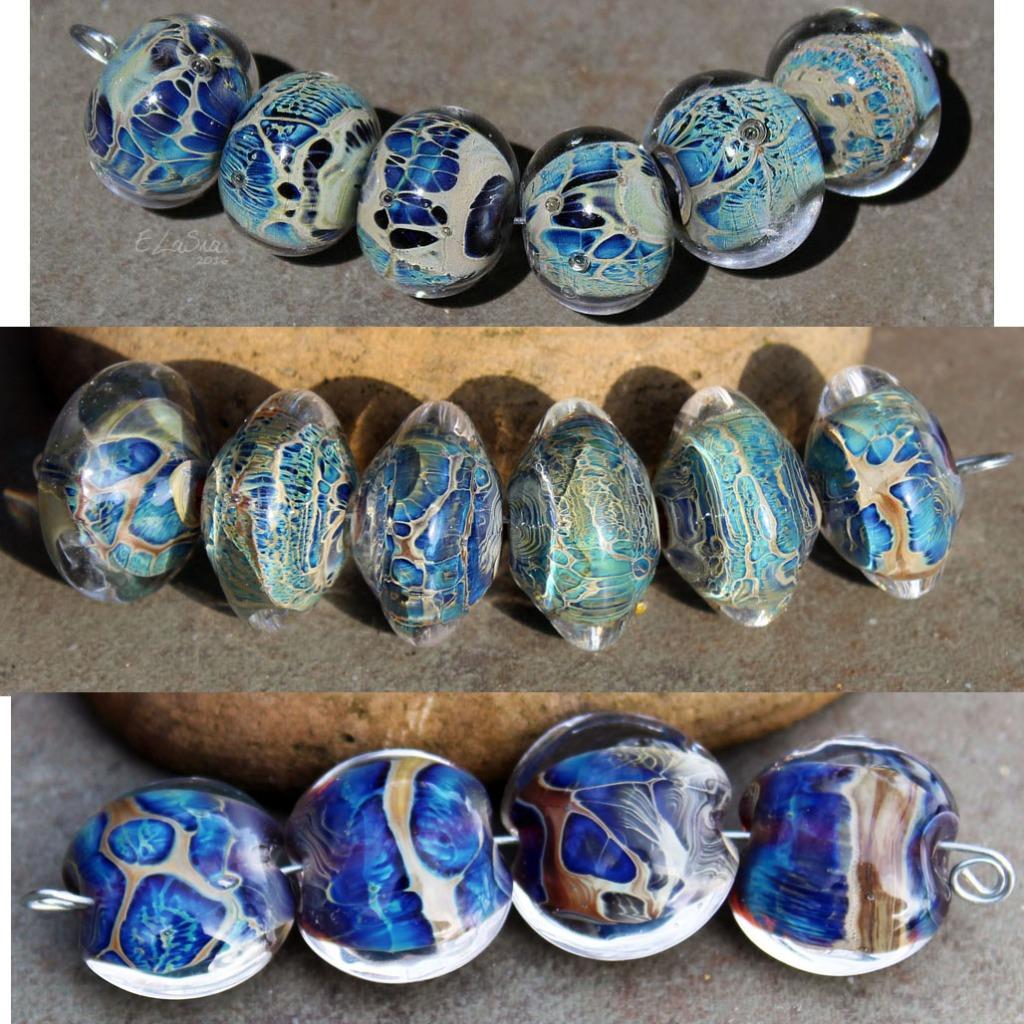 Loose Mixed Bead Lot Polymer Clay Lampwork Glass Blue Black Green Round Destash Orphan