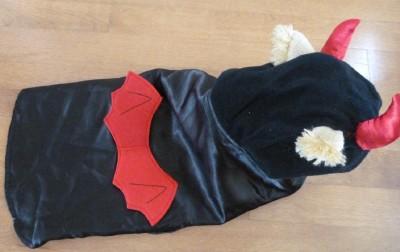Pet Dog Cat Halloween Costume Lil' Devil Size Med Large Red Black Horns Tail