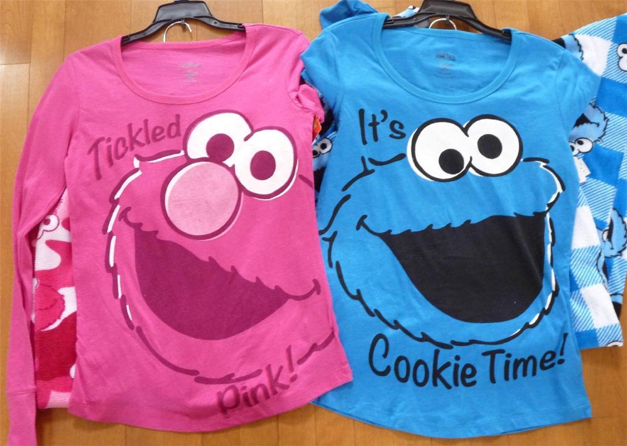 8bfd74d9 Womens SESAME STREET Pajamas PJs Size S M L XL Pink Elmo Blue Cookie ...