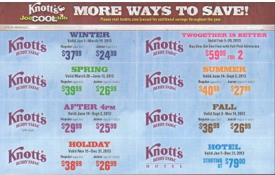 About Knott's Berry Farm Have yourself a fantastic day out at California's best theme and amusement park - Knott's Berry Farm. Today's Knott's Berry Farm Offers.