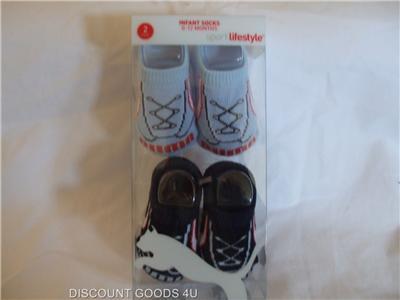 New 2 Pair Puma Baby Boy Crib Shoes Blue White Bootie Socks 0 12 Months
