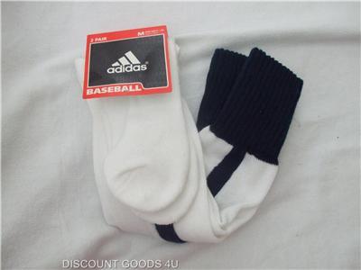 New 2 Pair Adidas Baseball Socks White Blue Mens Size 5 10 White Baseball Sock