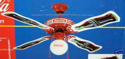 New coca cola fan old ceiling box coke 1997 globe glass metal light description official coca cola 1997 4 blade ceiling fan aloadofball Images