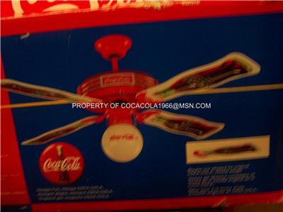 New Coca Cola Ceiling Fan 1997 Bottle 44 Quot Coke Globe