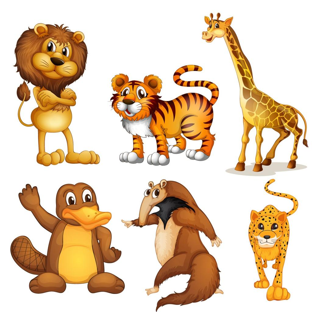 Wild Animal Wall Stickers Wall Art Sticker Full Colour Jungle Animals Lion