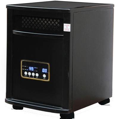 Portable Indoor Quartz Infrared Heater with remote from Atlas, in black