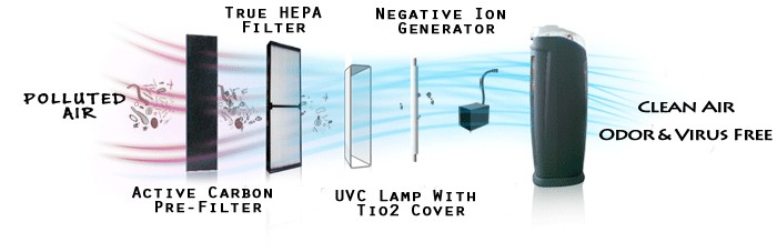 HEPA filtration with negative ion generator active carbon filter and UV to rid the air of allergens, dander and pollutants