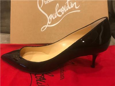 9fc15e9913f0 Christian Louboutin PIGALLE FOLLIES 55 Patent Kitten Heels Pump Shoes Black   675