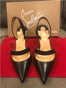 30f0a3680b1 Christian Louboutin ACTINA 85 Leather Slingback Heels Sandal Shoes Black   795