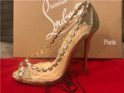 7d16f1f0eac8 Christian Louboutin HARGARET 120 PVC Transparent Open Toe Heels Pump Shoes   875