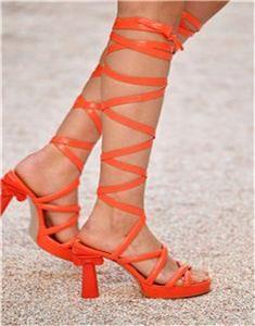 6eec6d2ce3d Chanel 18C Parthenon Grecian Column Heel Wrap Platform Sandals Shoes  1400