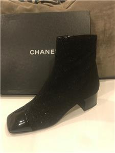 c45f2aab08bd CHANEL 17K Milky Way Fabric Patent Cap Toe Heel Ankle Boots Bootie Shoes  $1100
