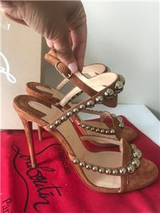 e674d70ed1cc14 Christian Louboutin GALERIA Studded Ankle Strap Heels Sandals Shoes Brown   845