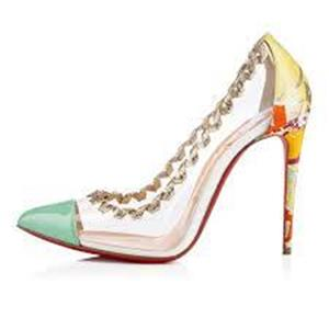 uk availability c04d4 055a1 Details about Christian Louboutin LISABETH 100 PVC Transparent Floral Heels  Pump Shoes $725