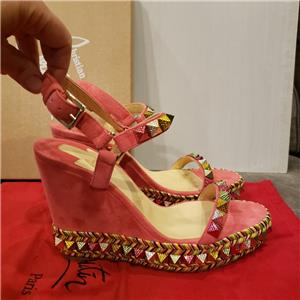 83f1d8eafd2 Christian Louboutin PYRACLOU Spiked Stud Platform Wedge Heel Sandals Shoes   695