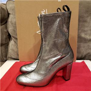 5b8a542878bb Christian Louboutin GENA BOOTIE 85 Stretch Leather Ankle Boots Heels Silver   995