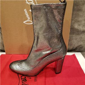 bed707e3f46a Christian Louboutin GENA BOOTIE 85 Stretch Leather Ankle Boots Heels Silver   995