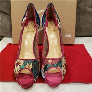 803c91c251c Christian Louboutin VERY LACE 120 Floral Platform Open Toe Heel Pump Shoes   965