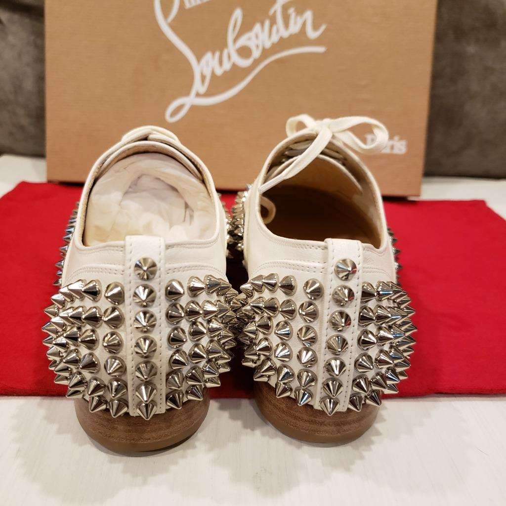 3c80e34c57b8 Christian Louboutin FREDDY Spikes Donna Studded Lace Up Flat Oxford ...