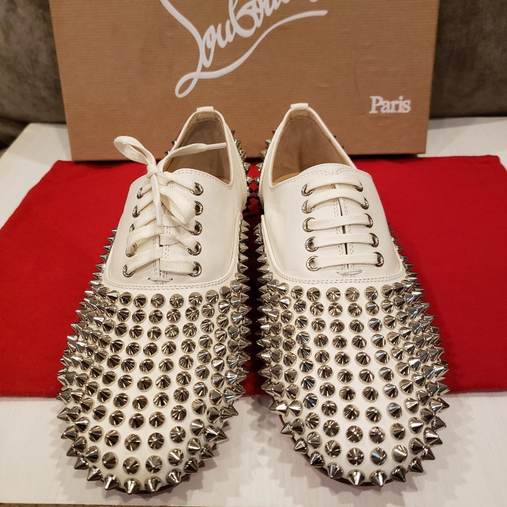951f676828ee Christian Louboutin FREDDY Spikes Donna Studded Lace Up Flat Oxford ...